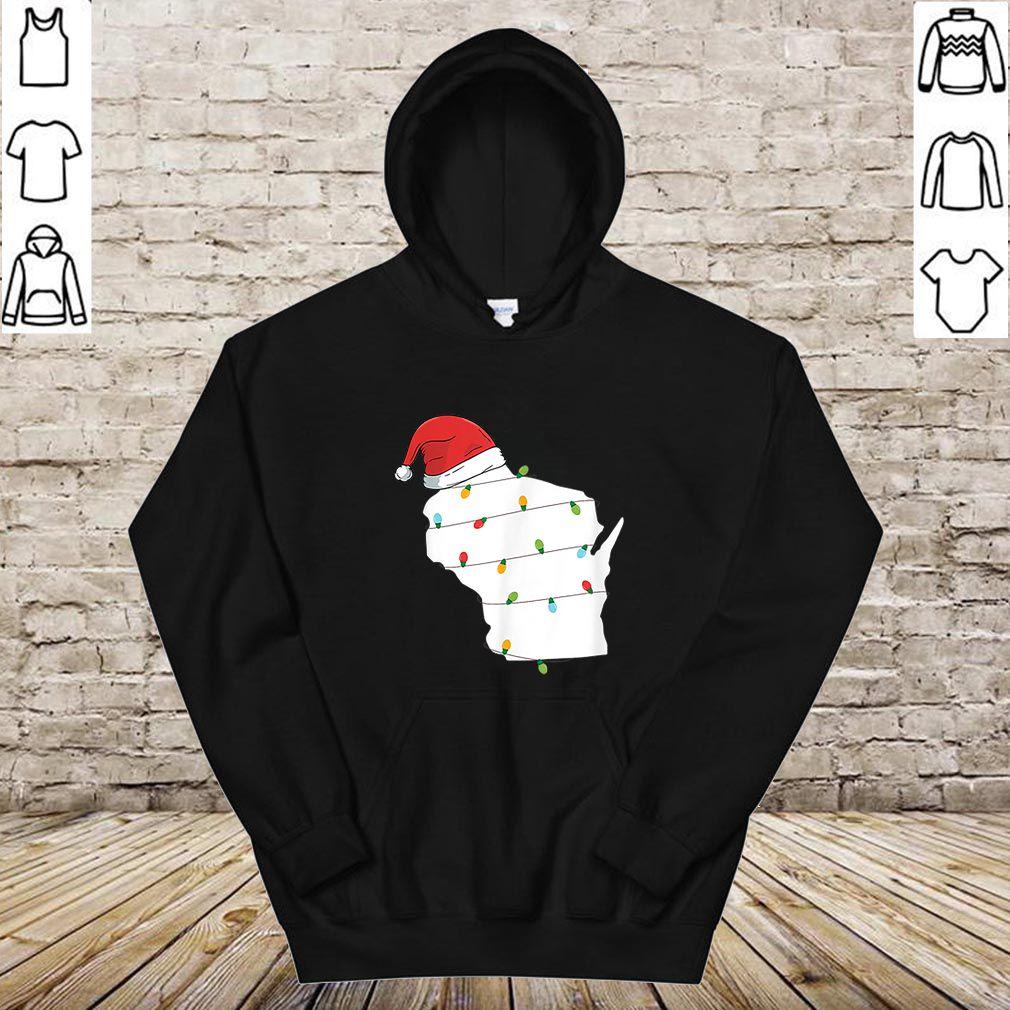 Nice Wisconsin Santa Hat Christmas Ornaments shirt