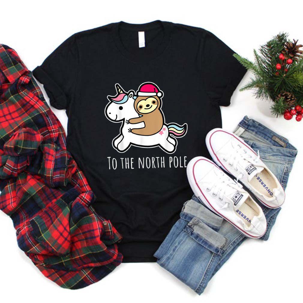 Official Santa Sloth Riding Unicorn Funny Girl Christmas Gift sweater