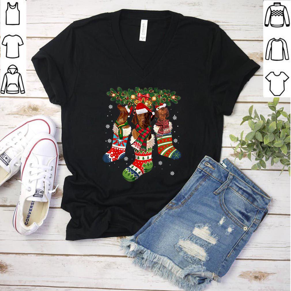 Official Three Vizsla In Sock Christmas Santa Hat X-mas Dog Lover shirt