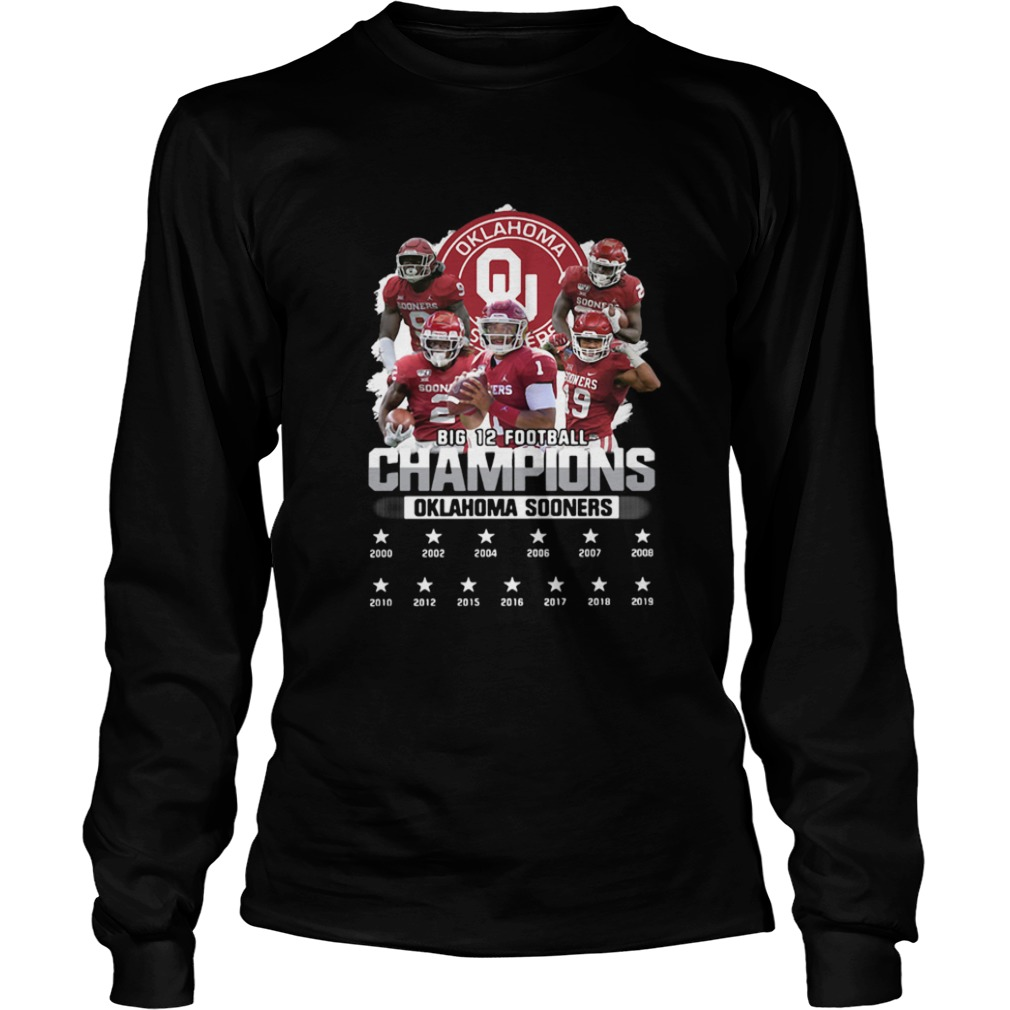 Oklahoma Sooners Big 12 Football Champions Player  LongSleeve