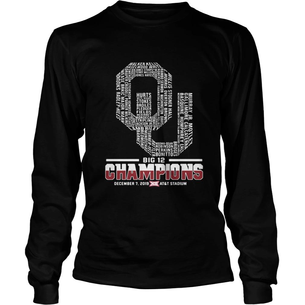 Oklahoma Sooners football Players Big 12 Champions ATT Stadium  LongSleeve