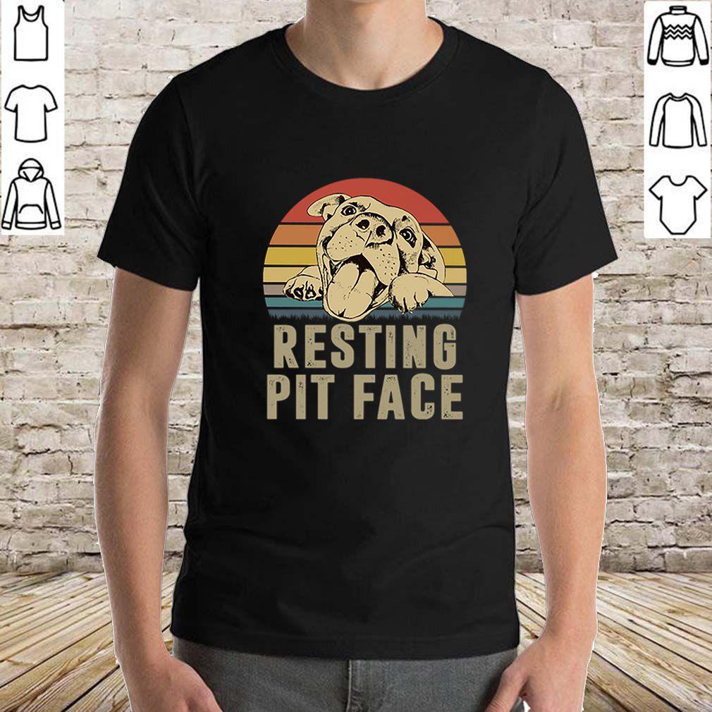 Pitbull resting pit face vintage sunset shirt