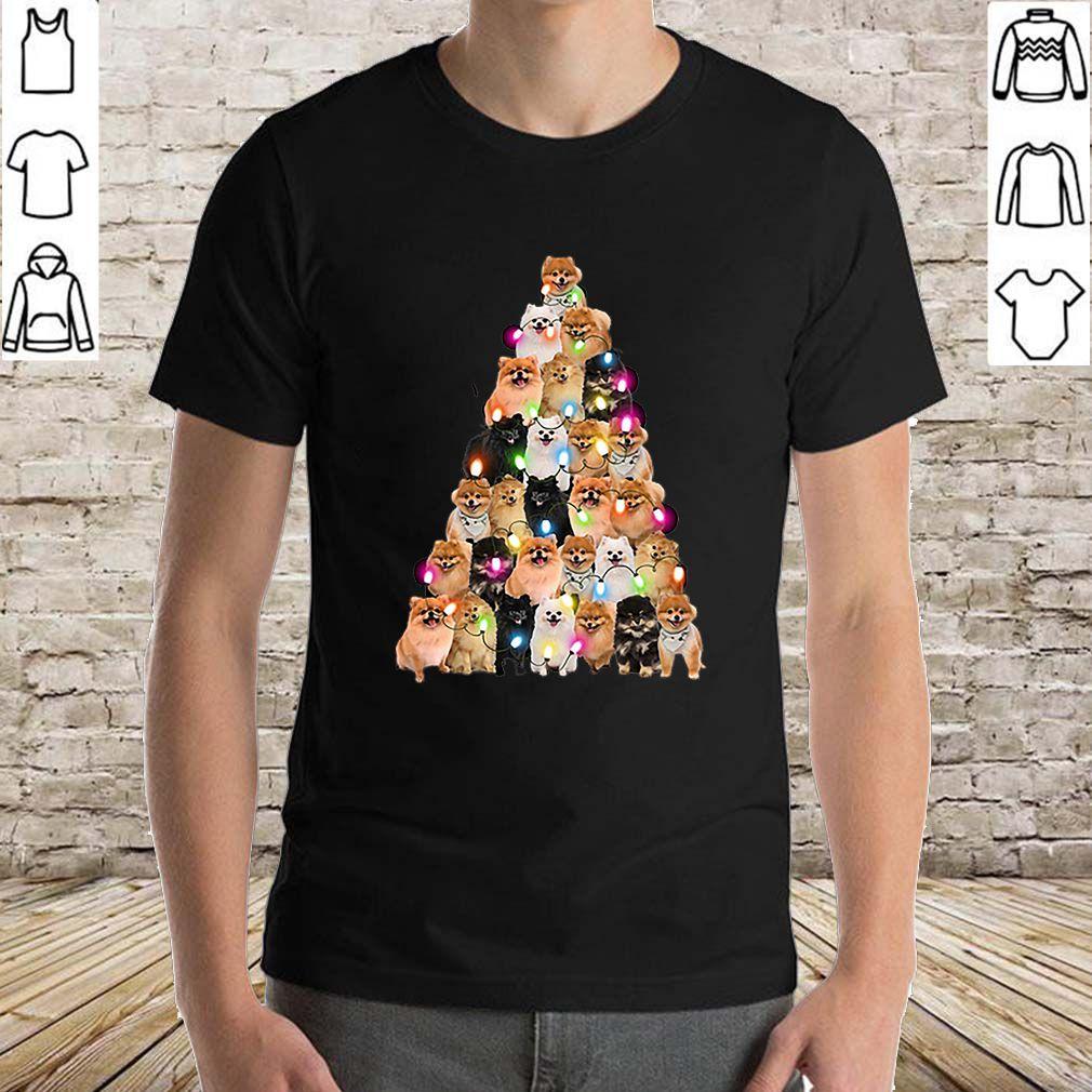 Pomeranian dogs lights Christmas tree shirt