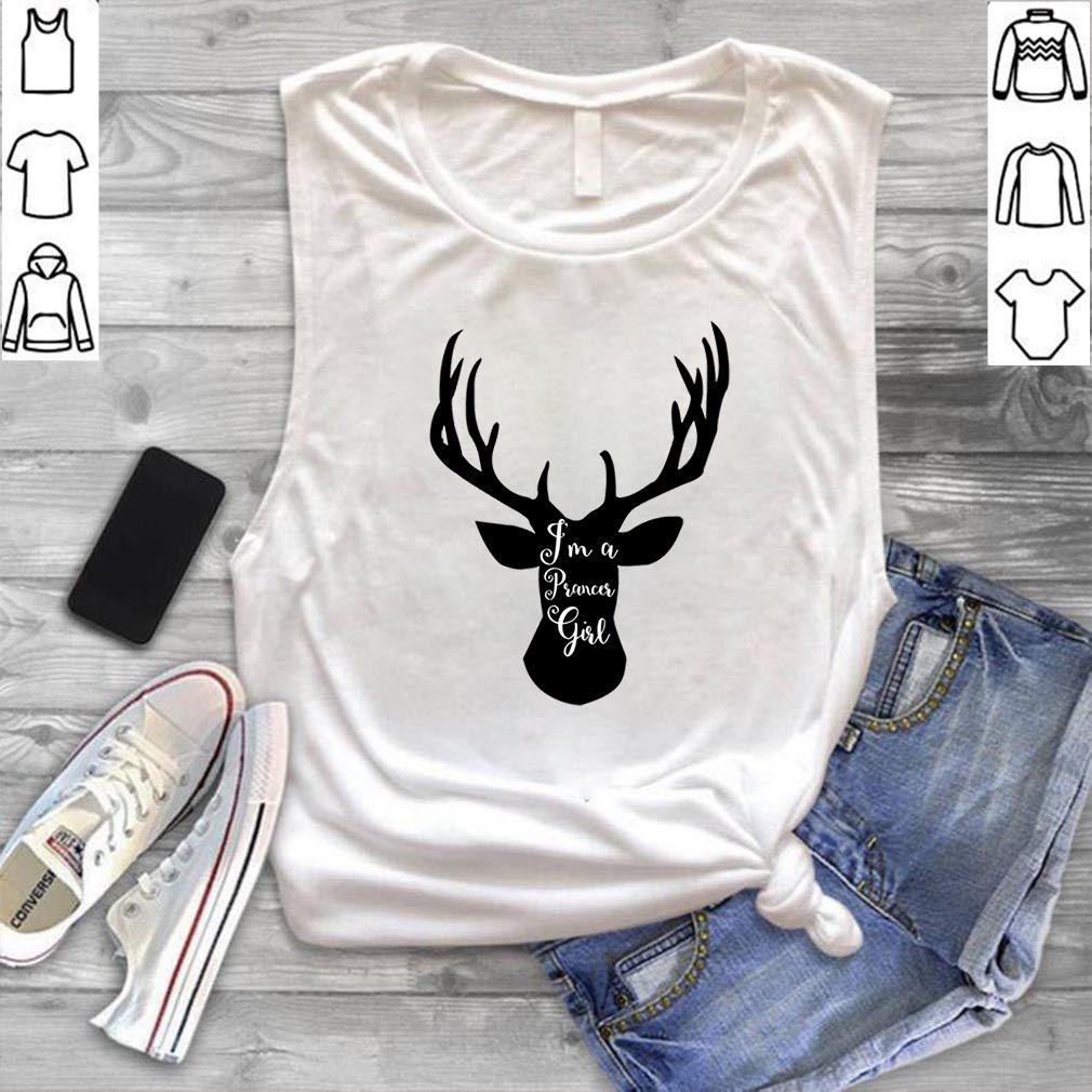 Prancer Reindeer girl Christmas T-Shirt Ladies Christmas tee