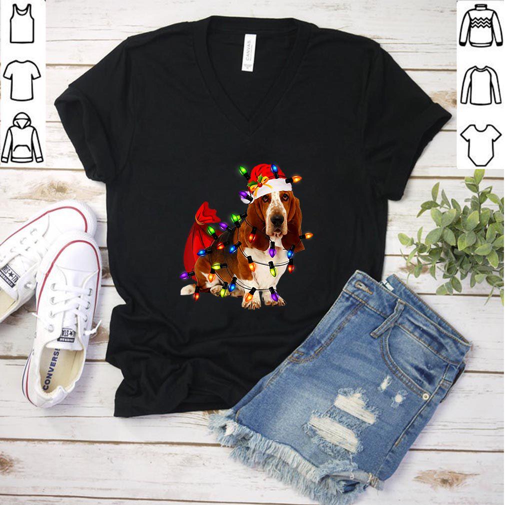 Pretty Basset Hound Christmas Santa Funny Dog Lover Gift shirt