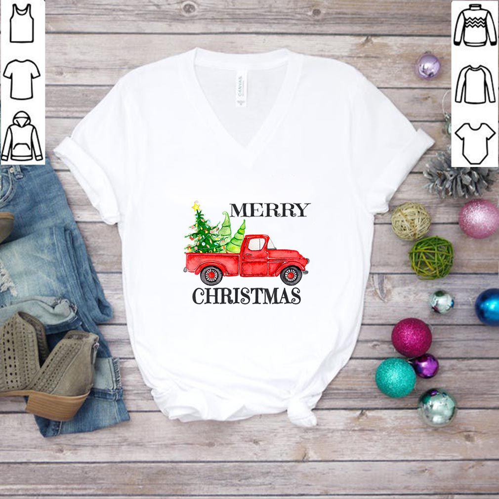 Pretty Merry Christmas Watercolor Red Truck with Farm Fresh Trees sweater