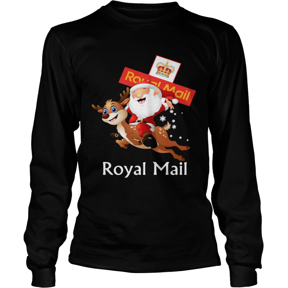 Santa Claus Riding Reindeer Royal Mail  LongSleeve