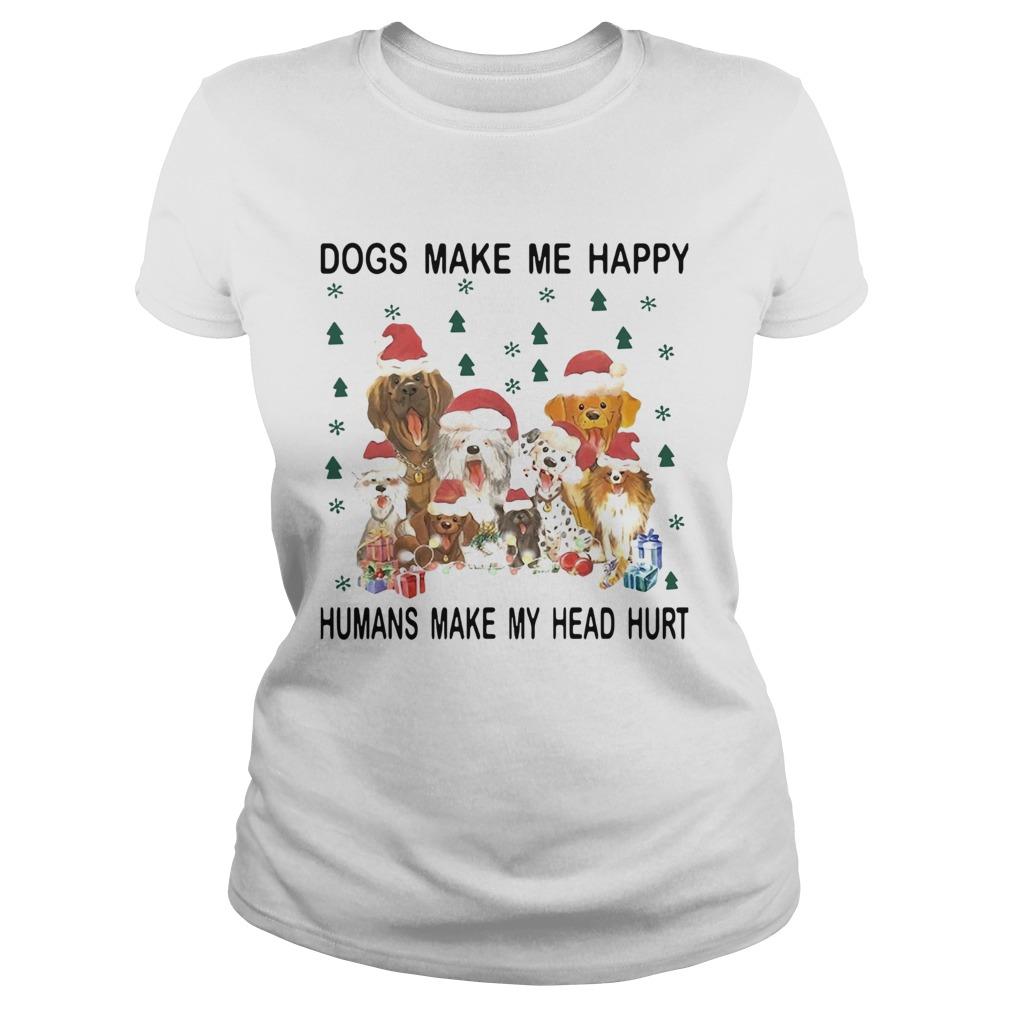 Santa Dogs Make Me Happy Humans Make My Head Hurt Christmas  Classic Ladies