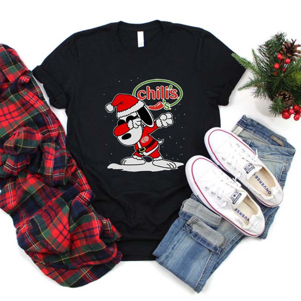 Santa Snoopy Chili's Merry Christmas Xmas Shirt