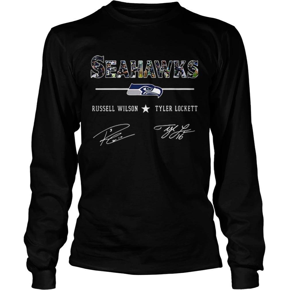 Seattle Seahawks Russell Wilson Tyler Lockett Signatures  LongSleeve