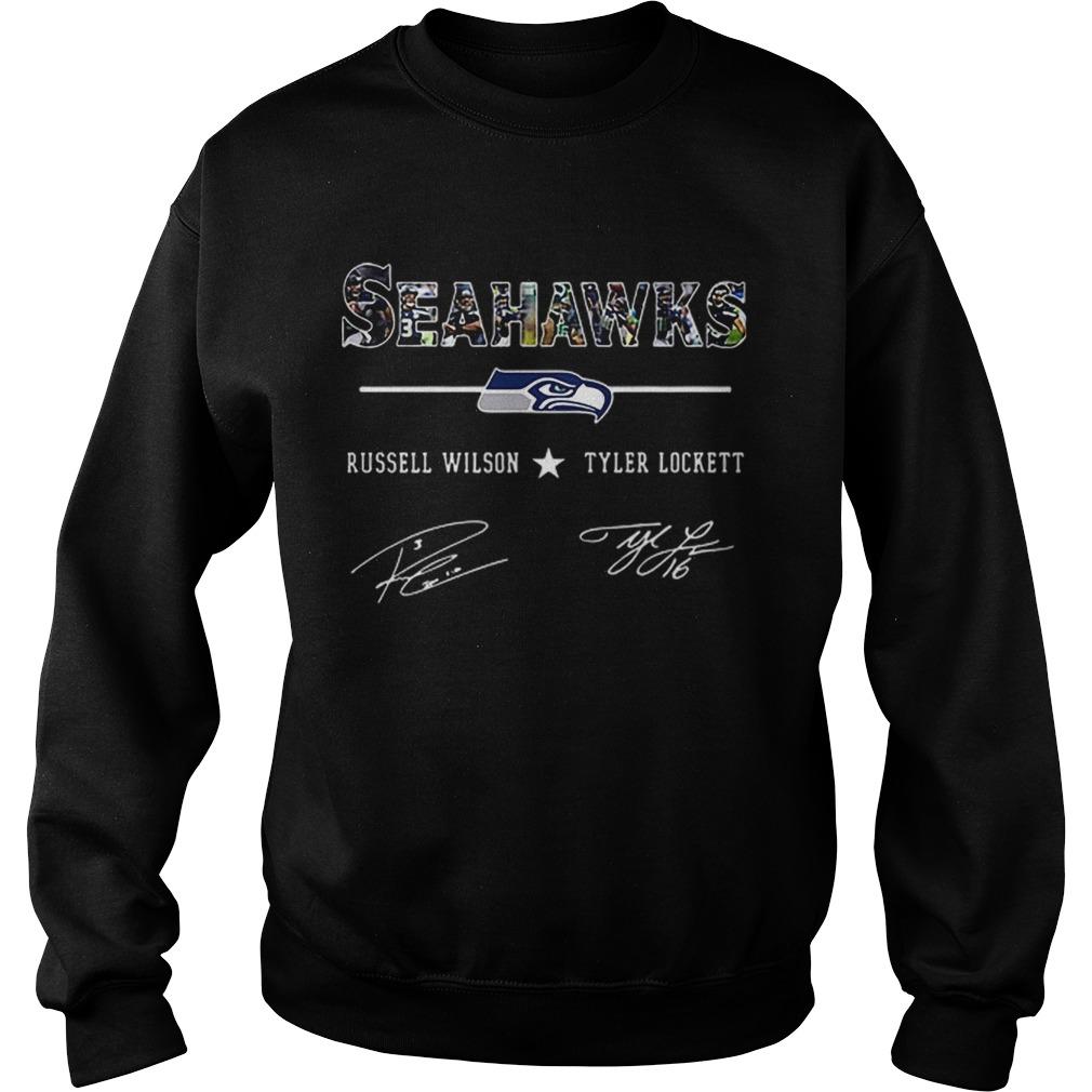 Seattle Seahawks Russell Wilson Tyler Lockett Signatures  Sweatshirt