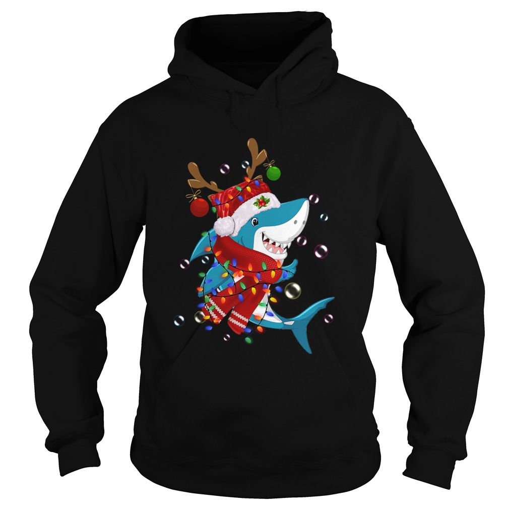Shark Reindeer In Santa Hat Christmas  Hoodie