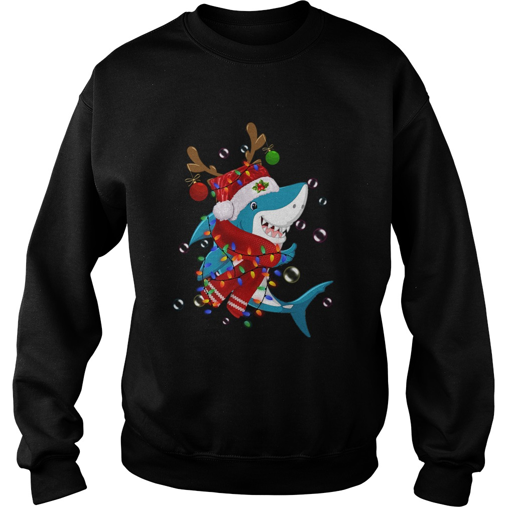 Shark Reindeer In Santa Hat Christmas  Sweatshirt