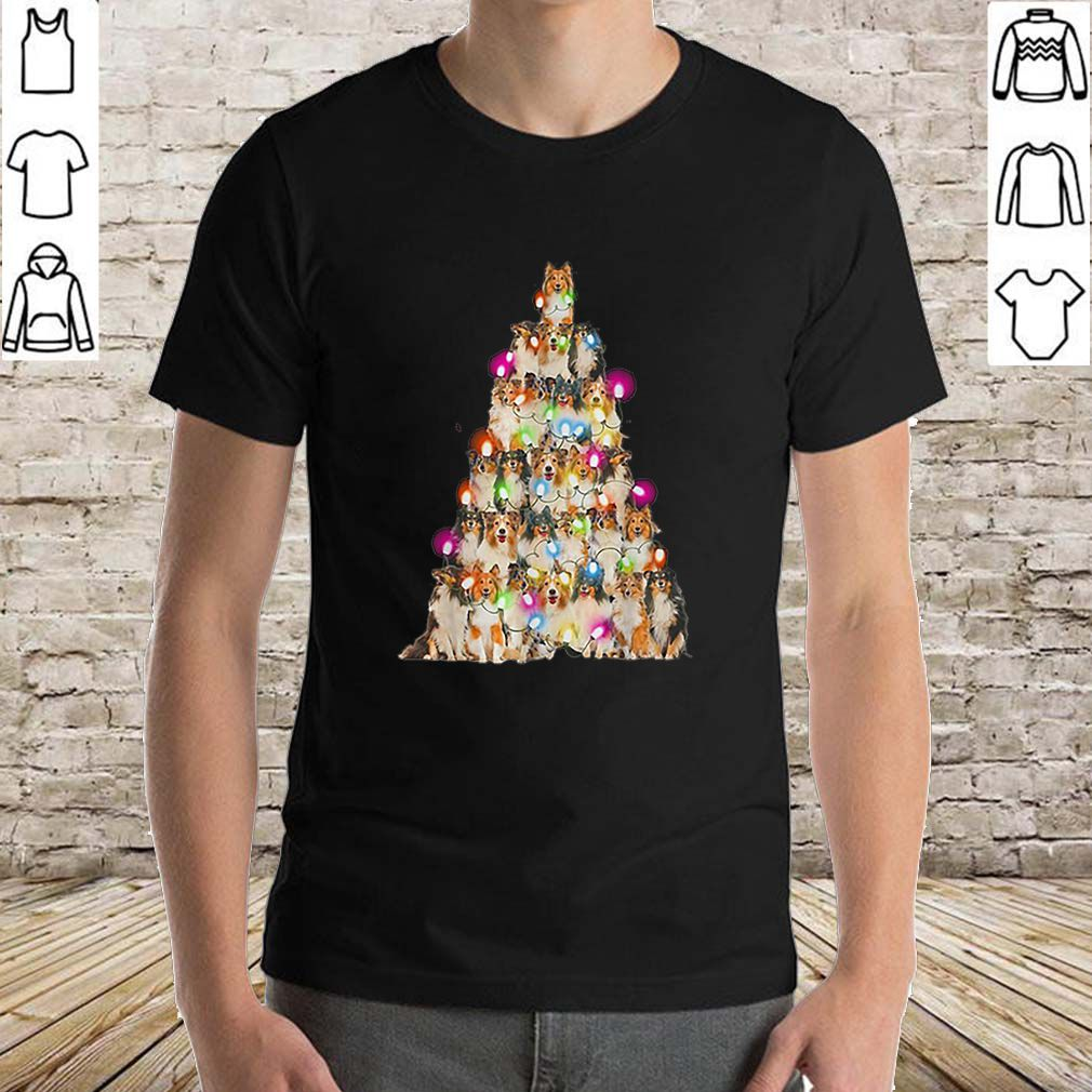 Sheltie paws tree Christmas lights shirt