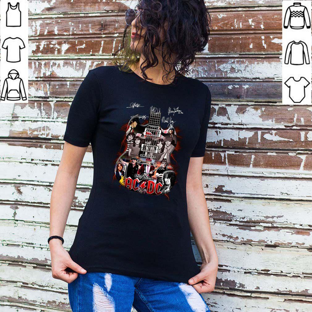 Signatures ACDC band guitarist todo sobre shirt