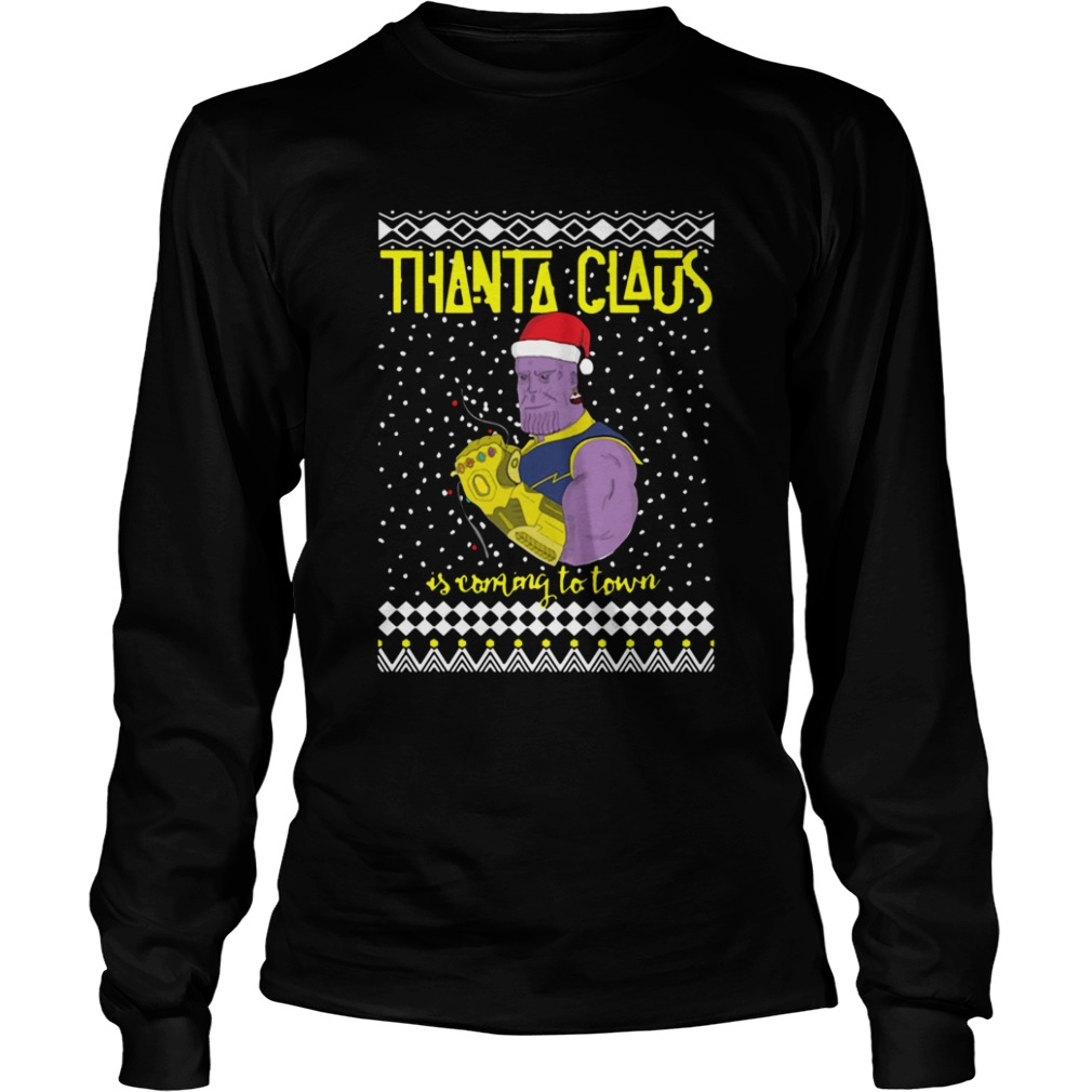 Thanta Claus Thanos Is Coming To Town Marvel Ugly Christmas  LongSleeve