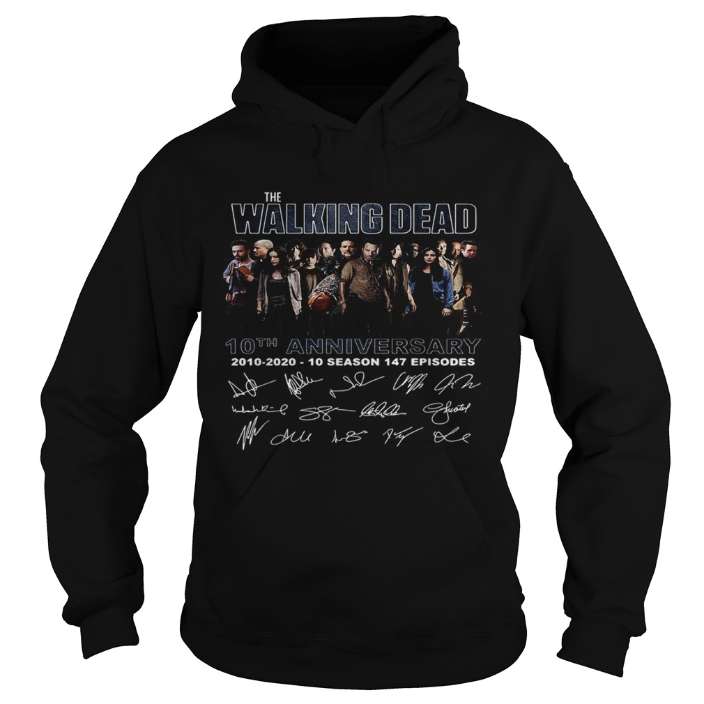The Walking Dead 10th anniversary 2010 2020 10 season 147 episodes signature  Hoodie