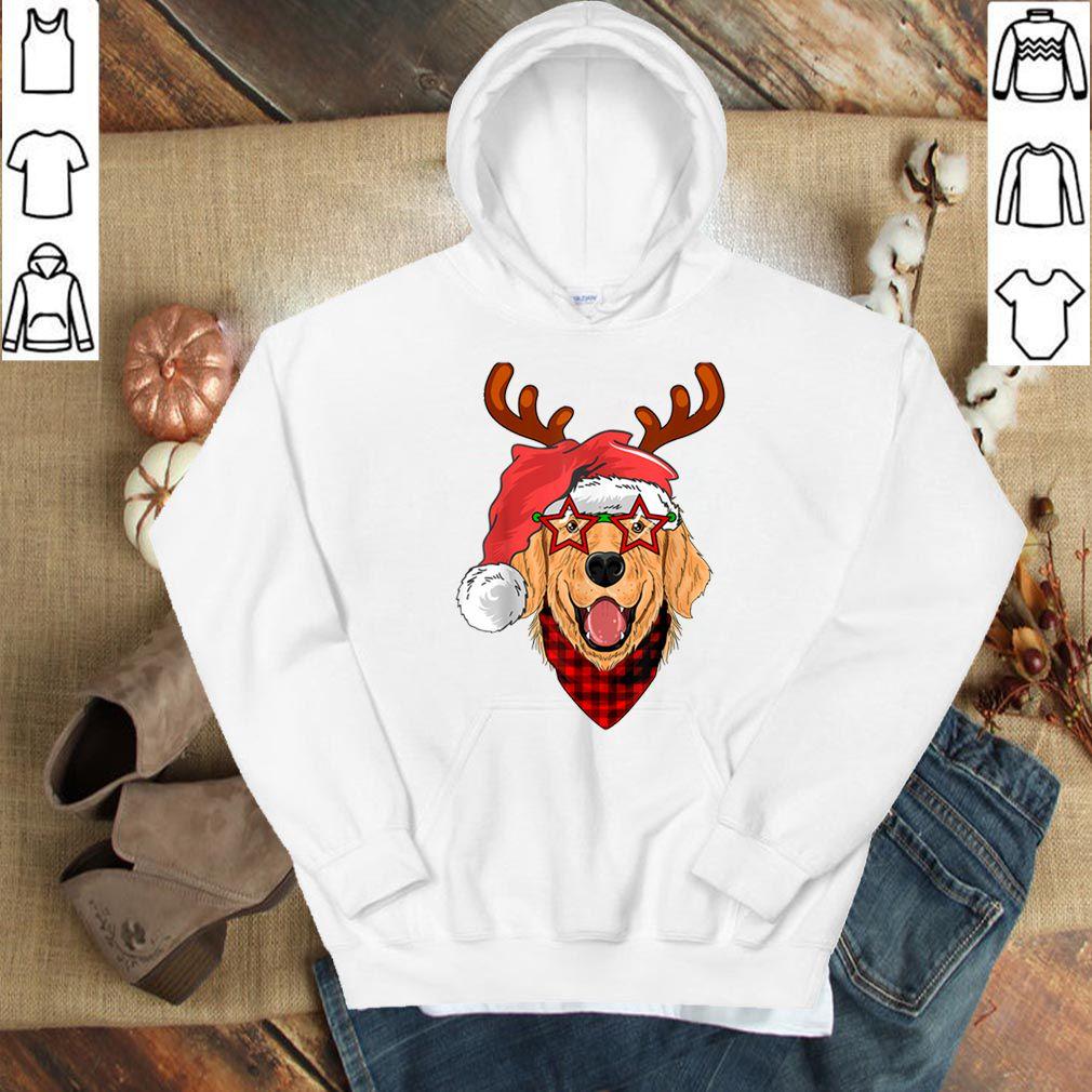 Top Golden Retriever Santa's Hat Buffalo Plaid Bandana Christmas shirt