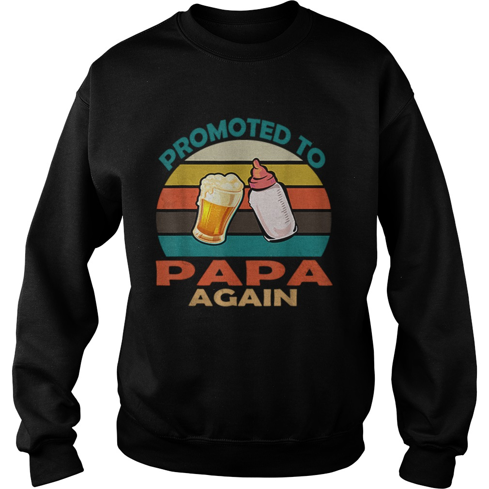 Vintage Promoted to Papa Again Christmas  Sweatshirt