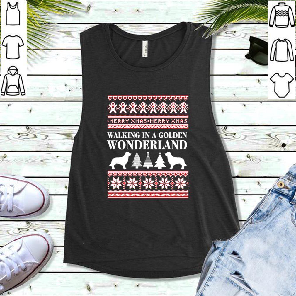 Walking In A Golden Wonderland Ugly Christmas Dog Lover T-shirt