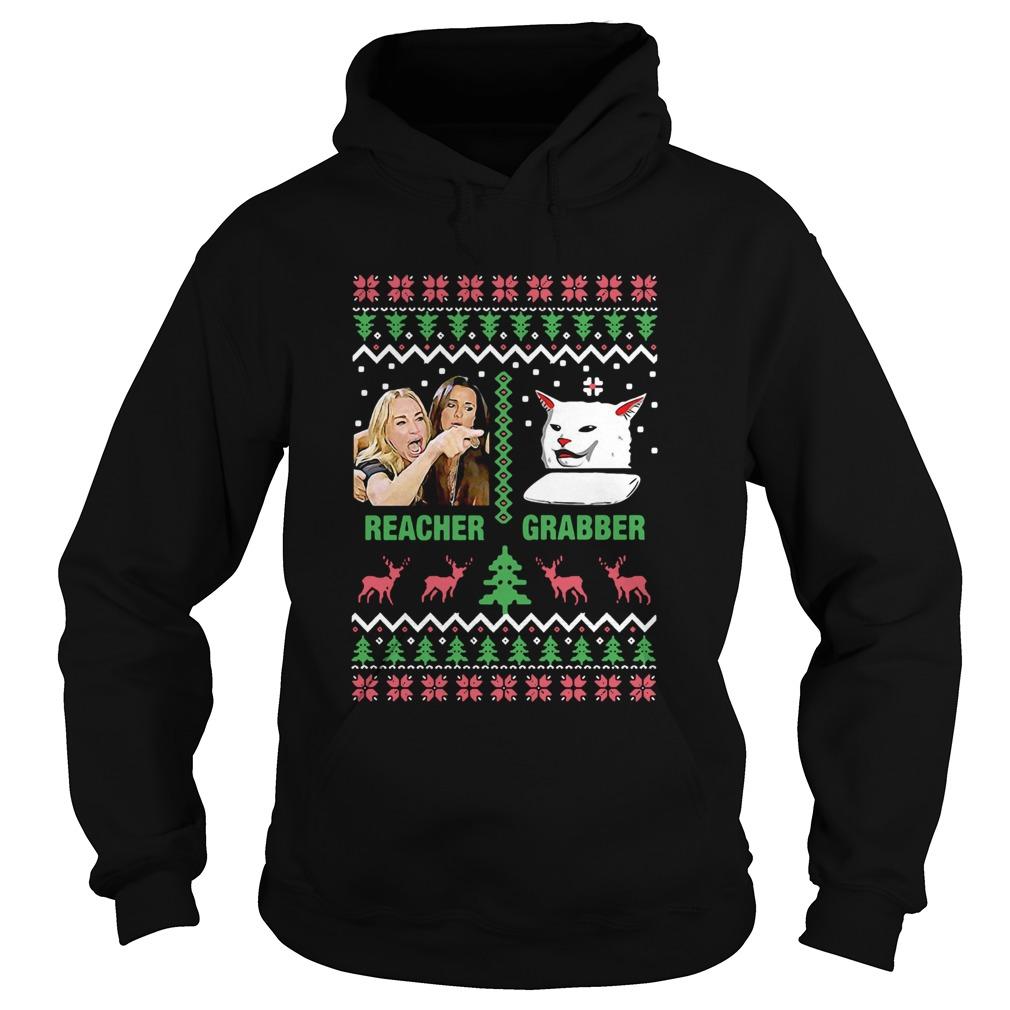 Woman Yelling Cat Meme Reacher Grabber Ugly Christmas  Hoodie