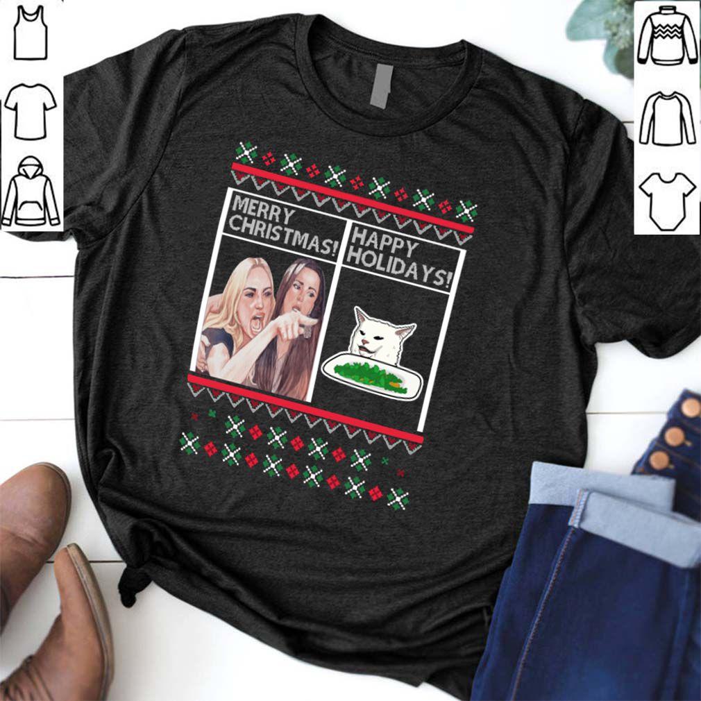 Woman yelling Merry Christmas Cat Happy Holidays shirt
