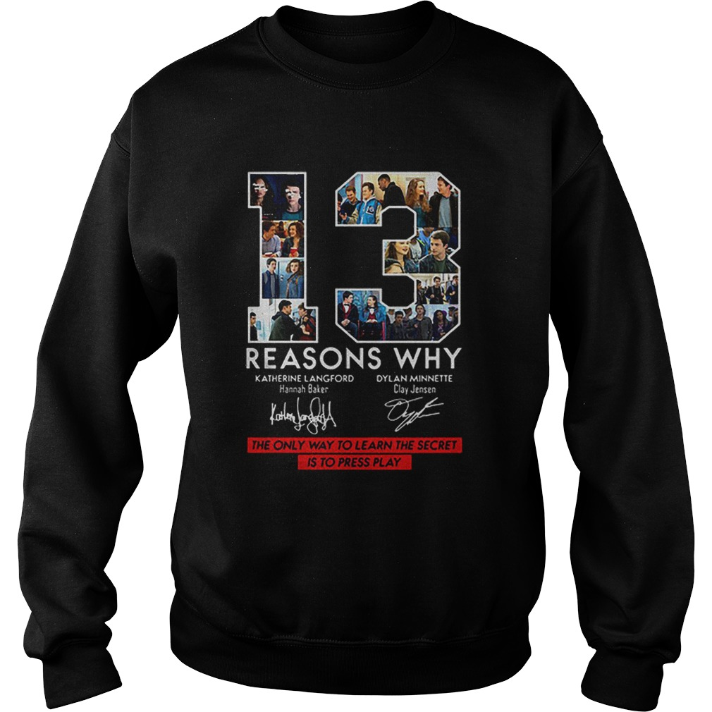 13 Reasons Why Signed The Only Way To Learn The Secret is to Press Play  Sweatshirt