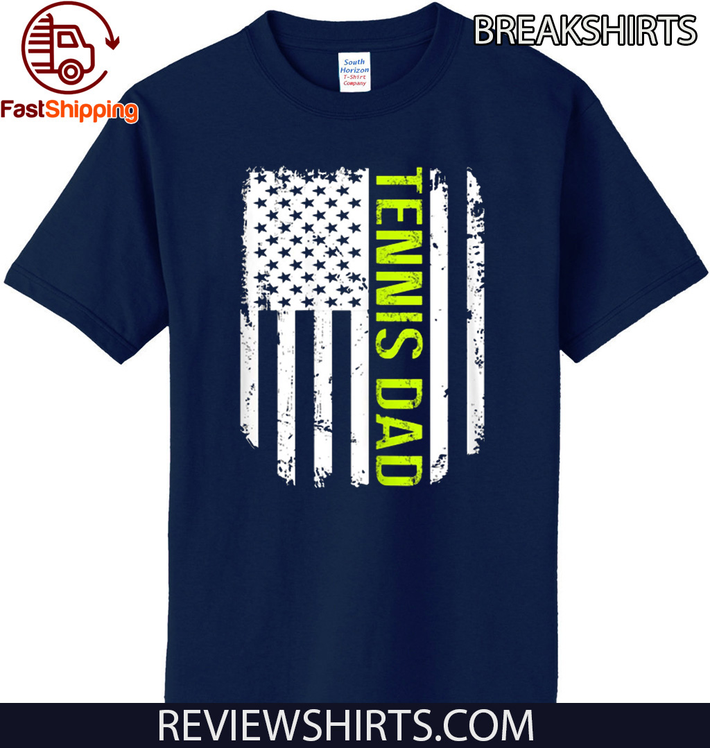 American Flag Proud Tennis Dad Vintage T-Shirt