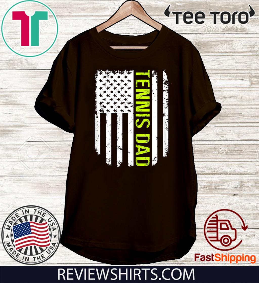 American Flag Proud Tennis Dad Vintage T-Shirt