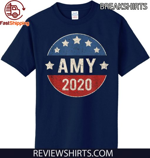 Amy Klobuchar For President 2020 Retro Election Button Tee Shirt