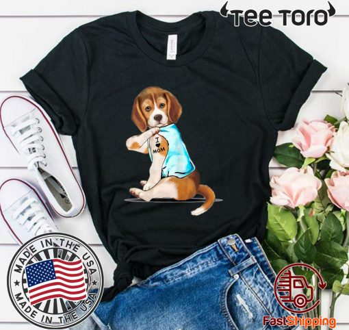 Beagle Tattoos I Love MOM Sitting Funny Gift Mother's Day T-Shirt For Mens Womens