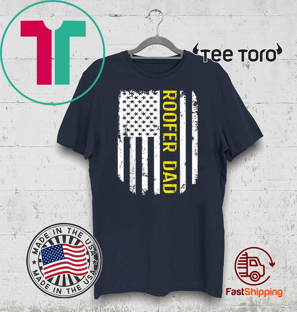 Vintage American 2020 Flag Proud Roofer Dad T-Shirt
