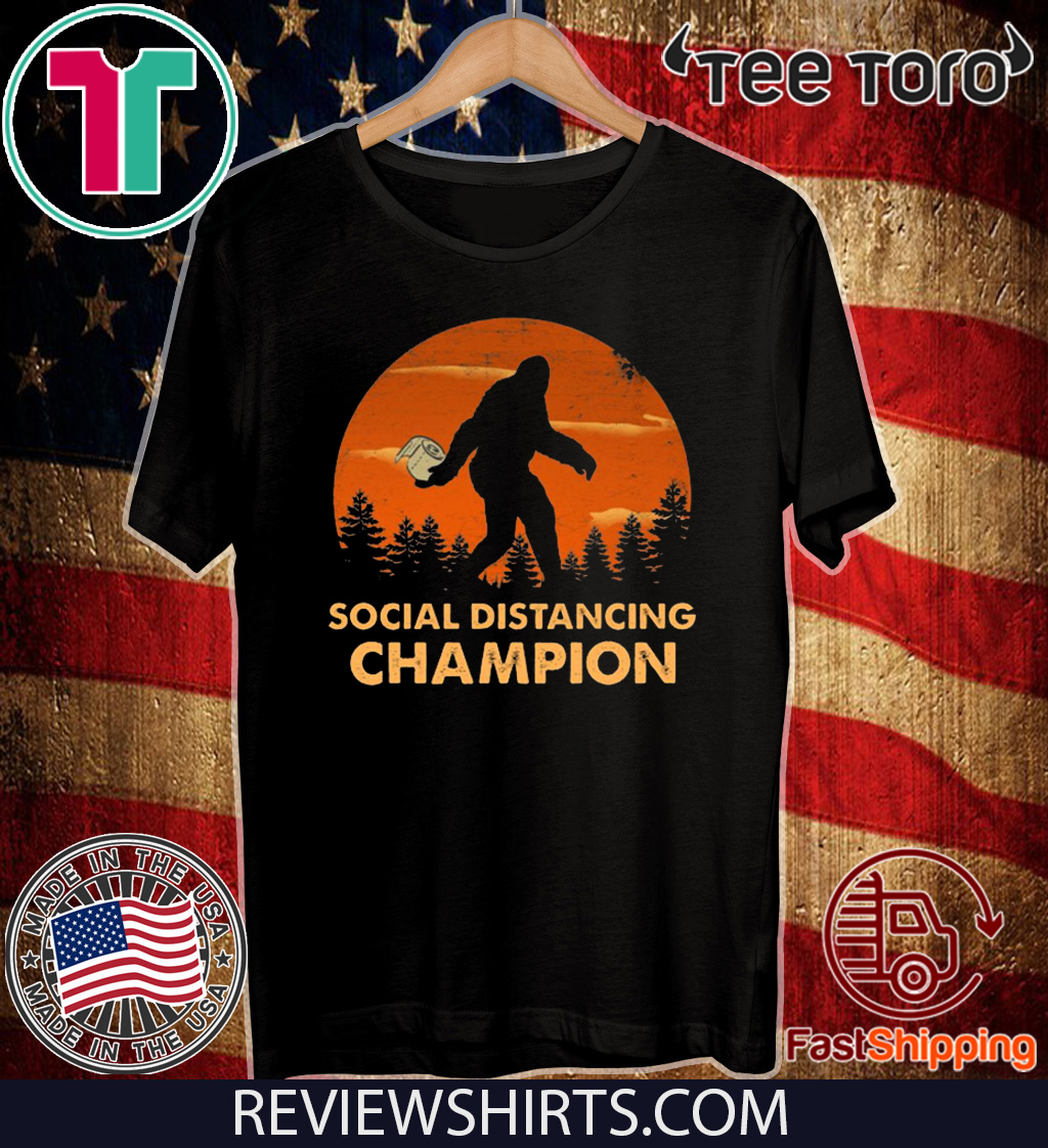 Bigfoot Toilet Paper Social Distancing Champion Sunset 2020 T-Shirt