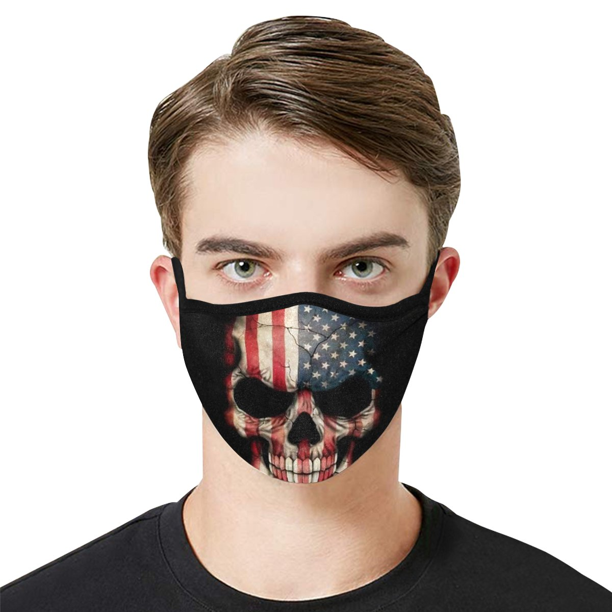 Face Mask Filter PM2.5 American Flag Skull Face Mask Filter PM2.5