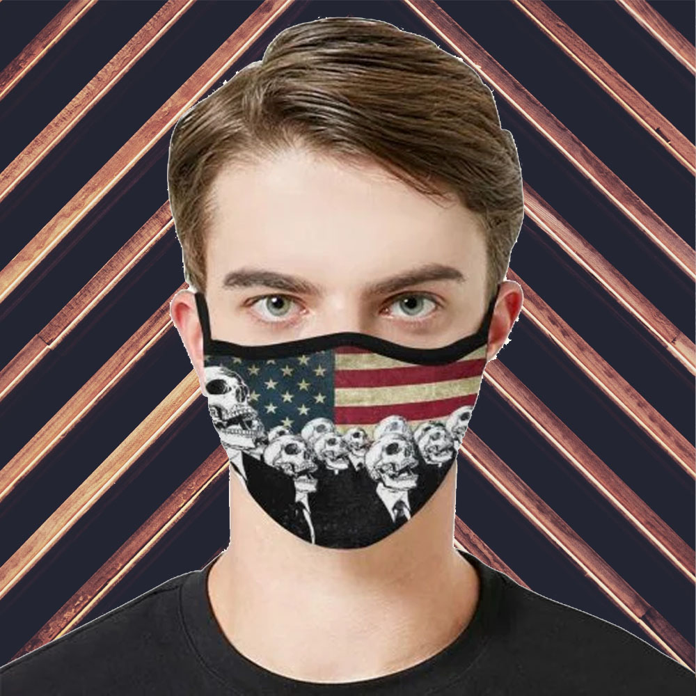 Face Mask Filter PM2.5 American Flag Skull cloth Face Mask US Face Mask – Adults Mask PM2.5 us