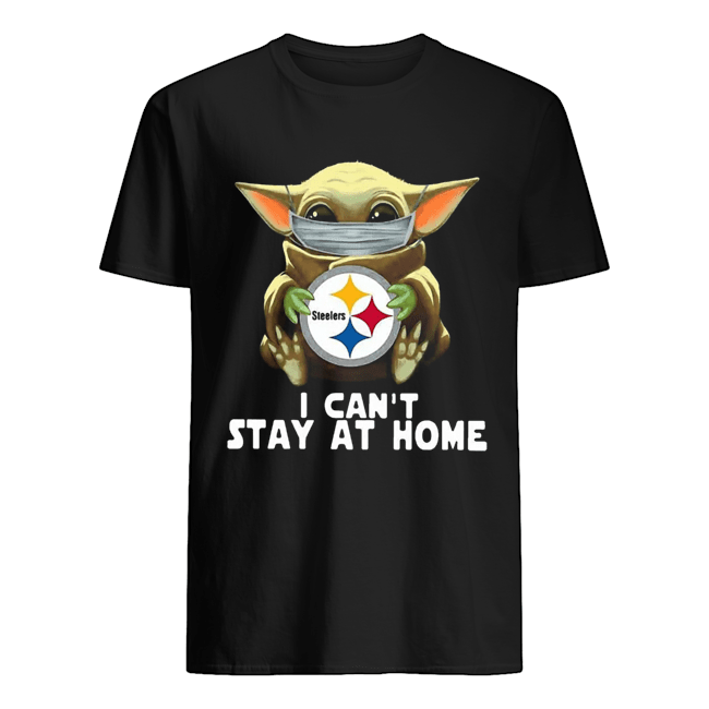 Star Wars Baby Yoda Mask Hug Pittsburgh Steelers I Can't Stay At Home  Classic Men's T-shirt