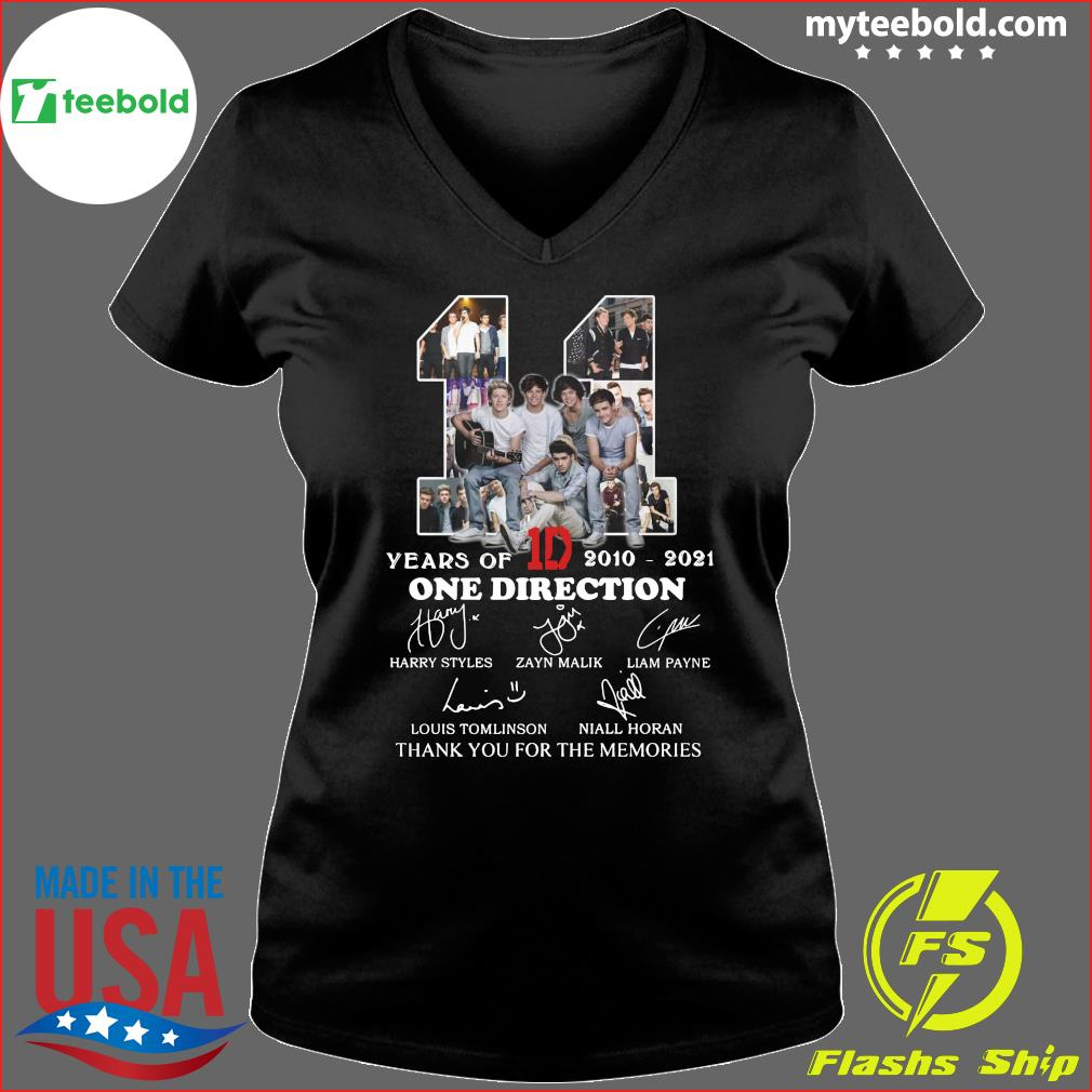 11 Years Of 1D One Direction 2021 2021 Signatures Thanks For The Memories Shirt Ladies V-neck