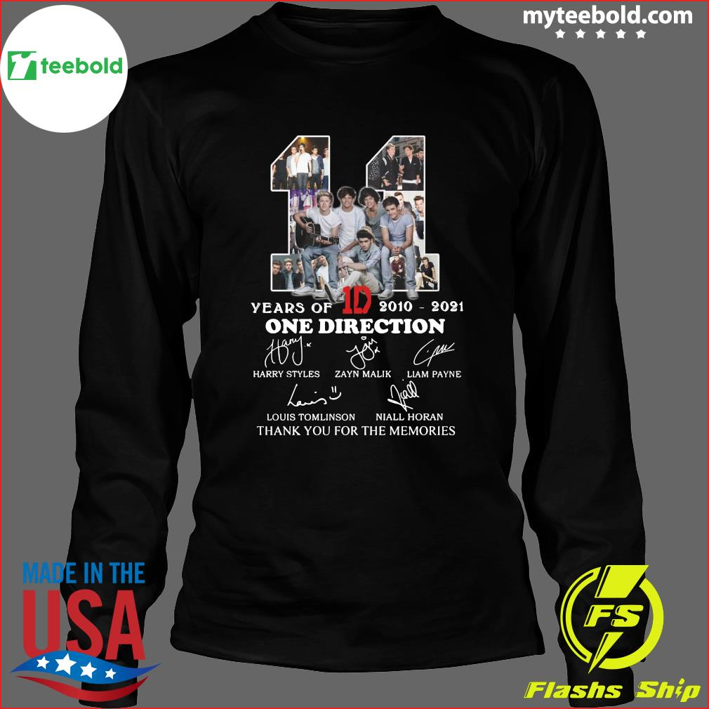 11 Years Of 1D One Direction 2021 2021 Signatures Thanks For The Memories Shirt Long Sleeve