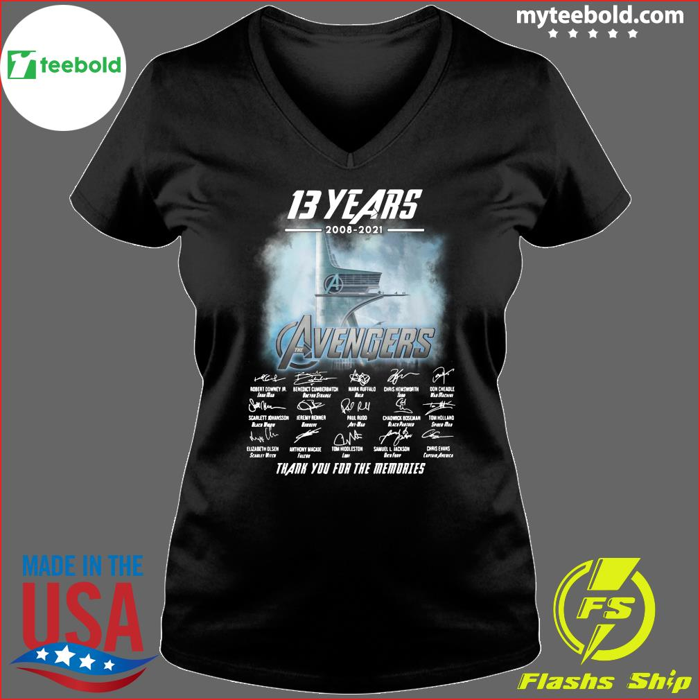 13 Years Of Avengers 2008 2021 Thank You For The Memories Signatures Shirt Ladies V-neck