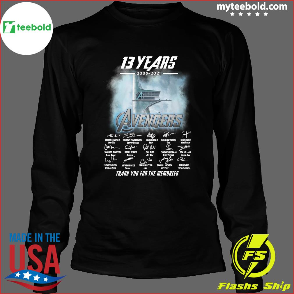 13 Years Of Avengers 2008 2021 Thank You For The Memories Signatures Shirt Long Sleeve