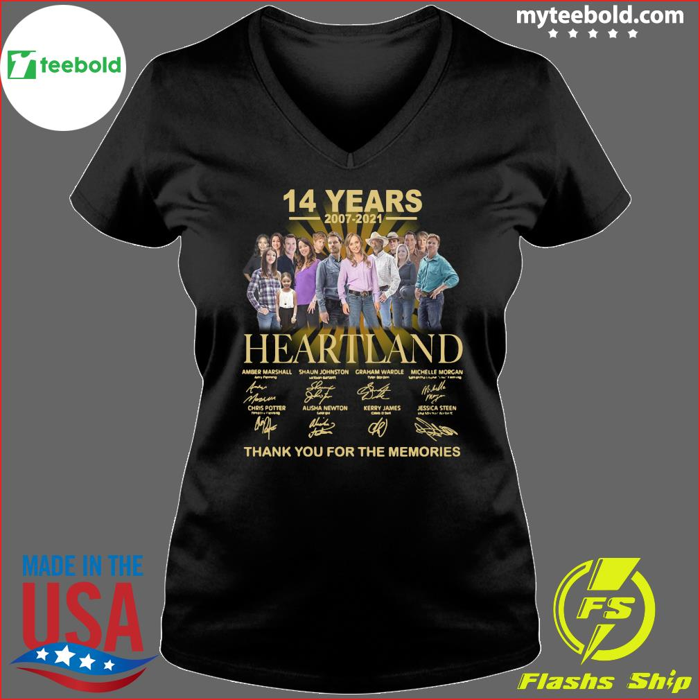 14 Years Of Heartland 2007 2021 Thank You For The Memories Signatures Shirt Ladies V-neck