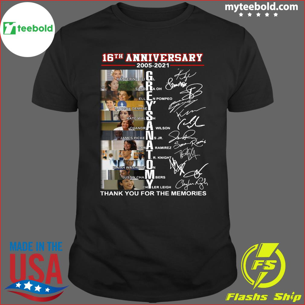 16th Anniversary 2005 2021 Of Grey's Anatomy Character Signatures Thanks For The Memories Signatures Shirt