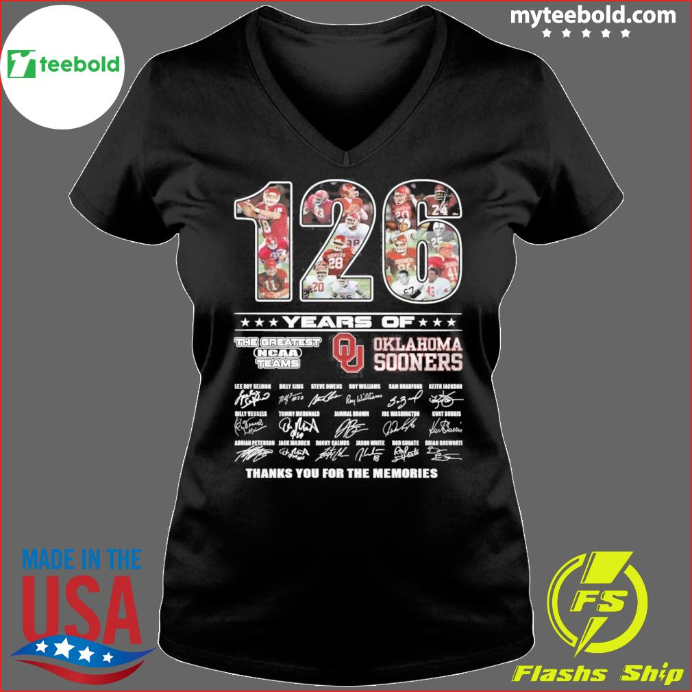 126 Years Of The Greatest NCAA Teams Oklahoma Sooners Signatures Thank You For The Memories Shirt Ladies V-neck