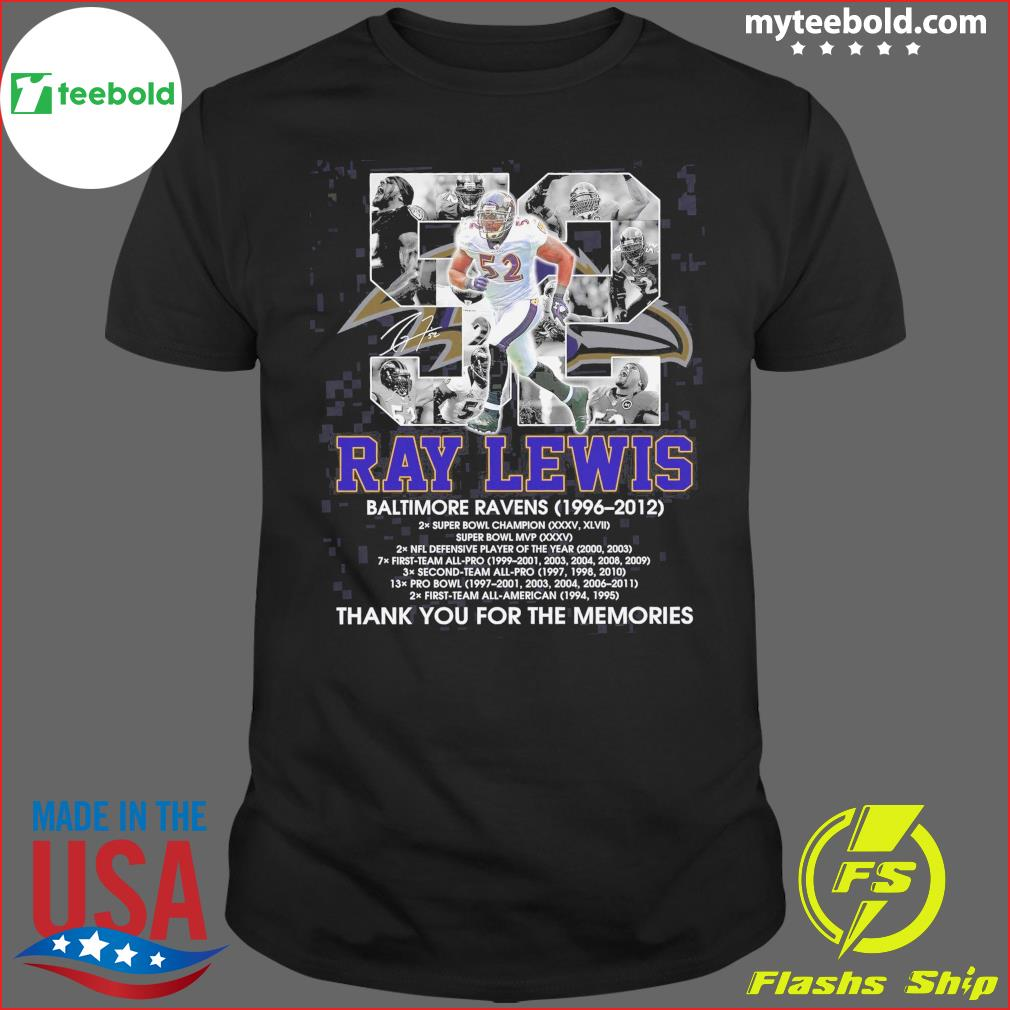 52 Ray Lewis Baltimore Ravens 1996 2012 Signatures Thanks For The Memories Shirt