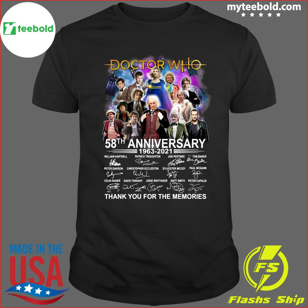 58th Anniversary Of The Doctor Who 1963 2021 Signatures Thank You For The Memories Shirt