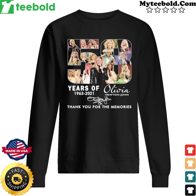 58 Years Of Olivia Newton-john 1963 2021 Thank You For The Memories Signature Shirt Sweater