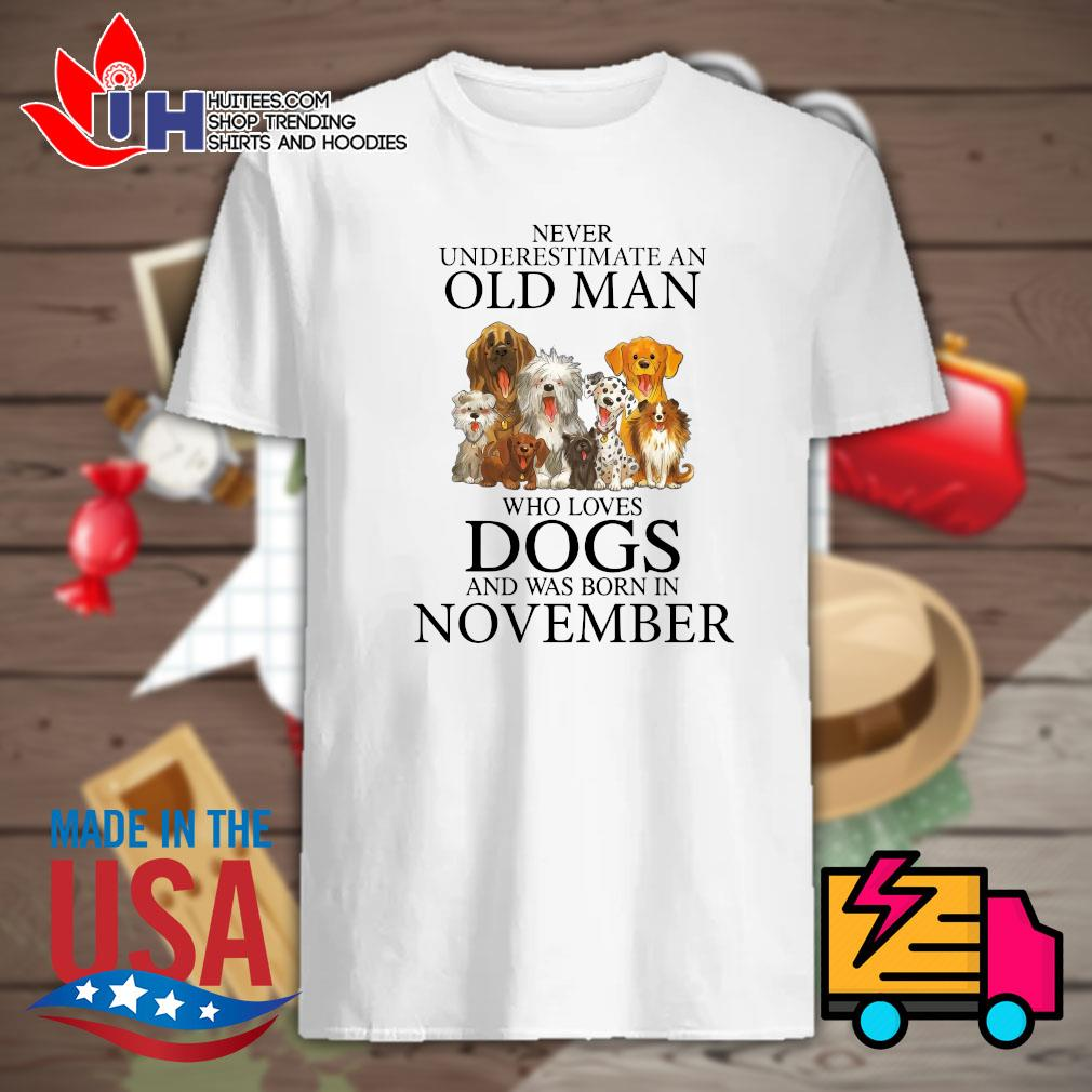 Never underestimate a woman who loves dogs and was born in November shirt