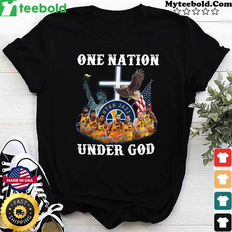 Utah Jazz Basketball Team One Nation Under God Signatures Shirt
