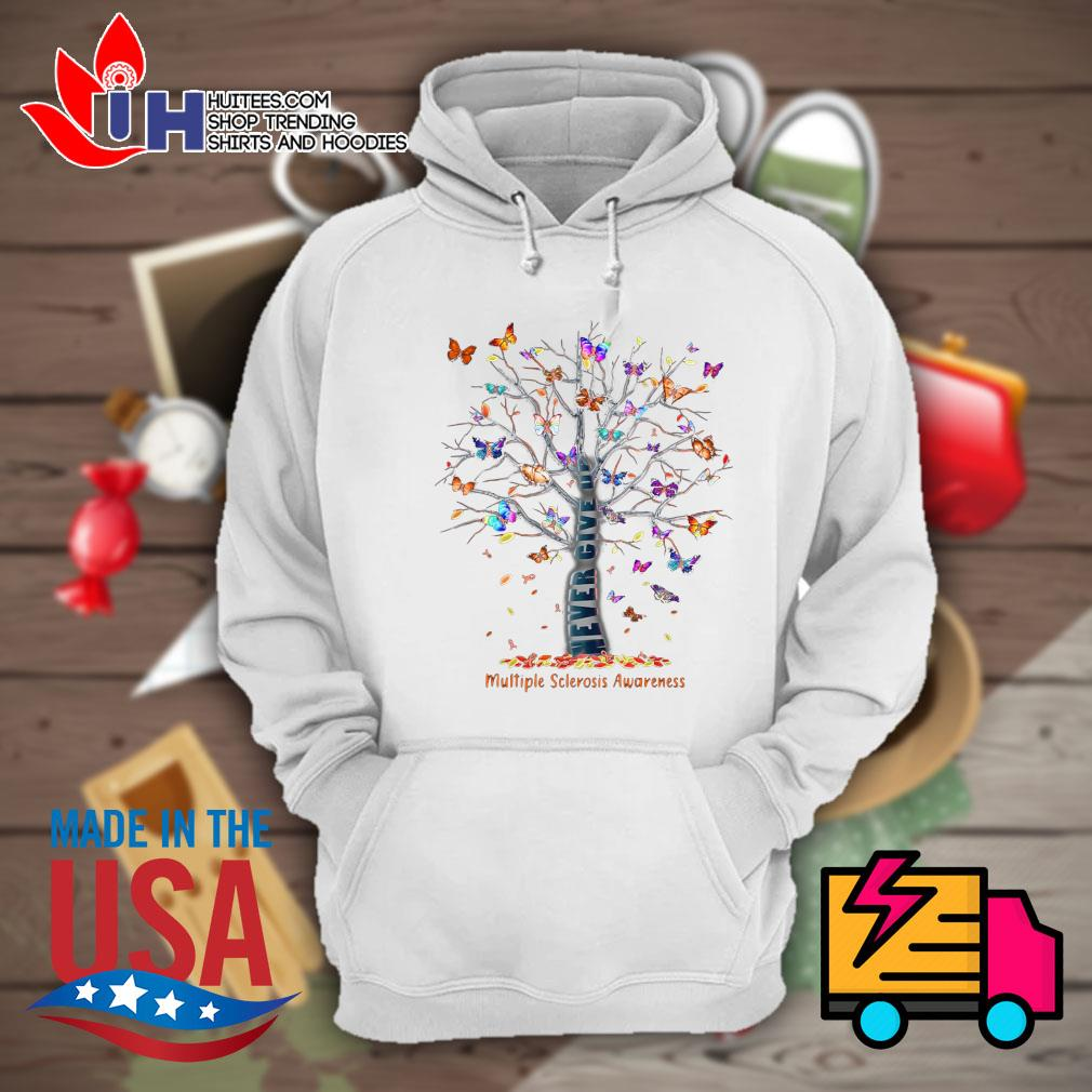 Butterfly Tree never give up multiple sclerosis awareness s Hoodie