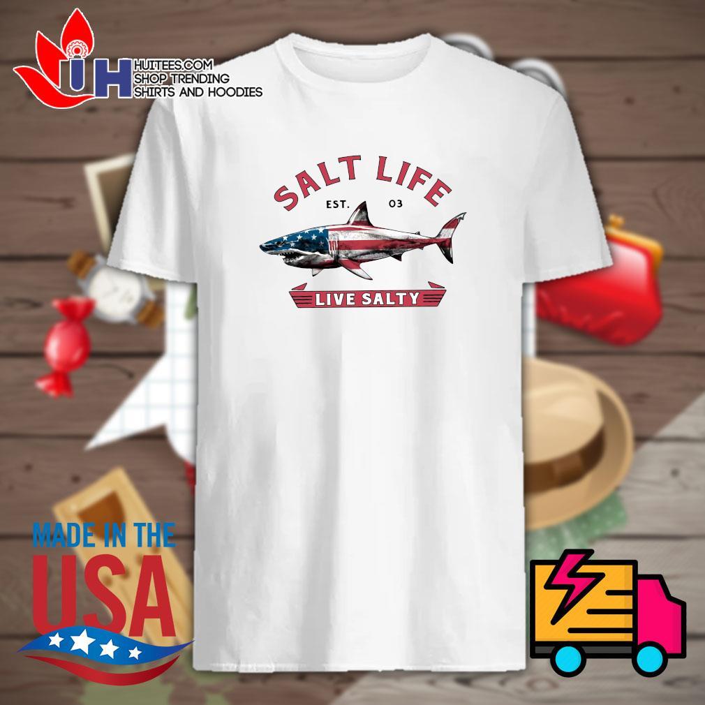 Shark American flag Salt life Est 03 live salty shirt
